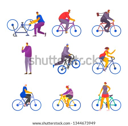 A set of cyclists in a stylized style. Several cyclists ride. One extreme jumps on a bicycle. Man stands with the phone.