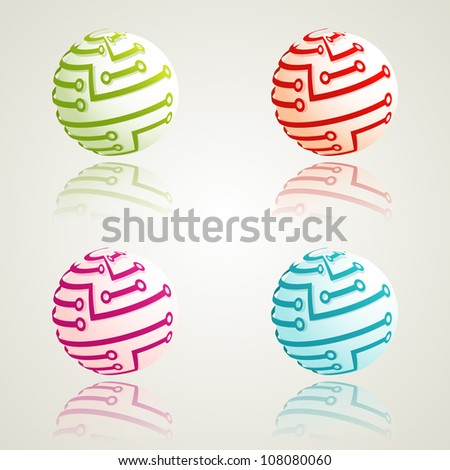 A set of 3d digital icons. Vector illustration. Eps10.