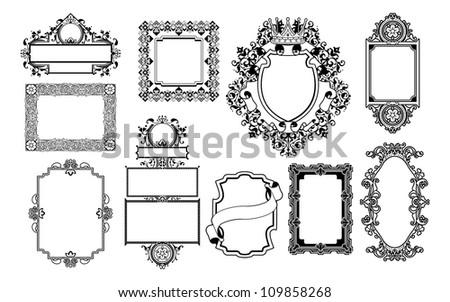 A set of decorative frame graphic design elements