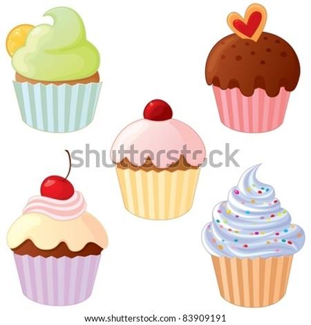 A set of delicious cupcakes.