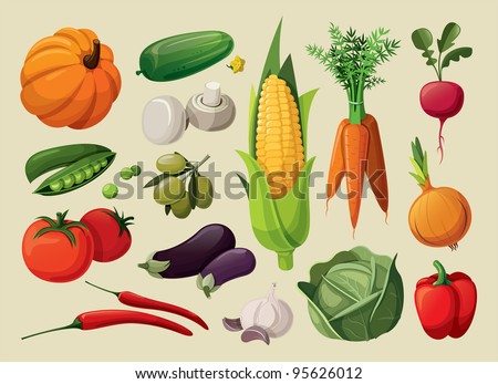 A set of delicious vegetables.