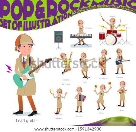 A set of Detective man playing rock 'n' roll and pop music.There are also various instruments such as ukulele and tambourine.It's vector art so it's easy to edit. Foto stock ©