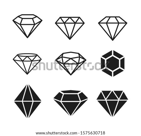 A set of diamonds in a flat style. Abstract black diamond collection icons.  Linear outline sign.  Vector  icon logo design diamonds.