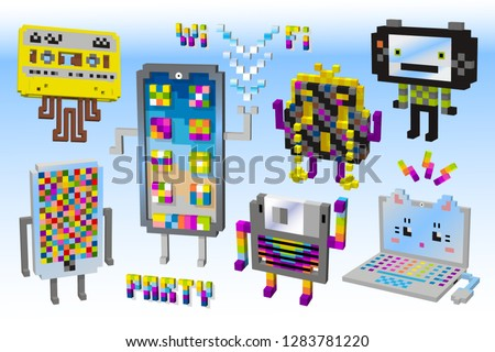 A set of different funny device character. Communication icons.3D cubes, pixel art, digital technology, game style.Tape cassette,diskette,computer,mobile phone, exchange information.Wi Fi party.Vector