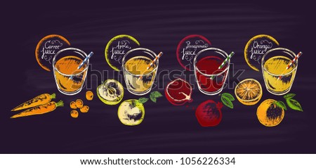 a set of different juices in