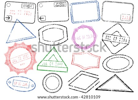 A set of different passport or post stamps. All vector objects are isolated and grouped. Stamps have transparent background. Colors and white background color are easy to adjust or customize.