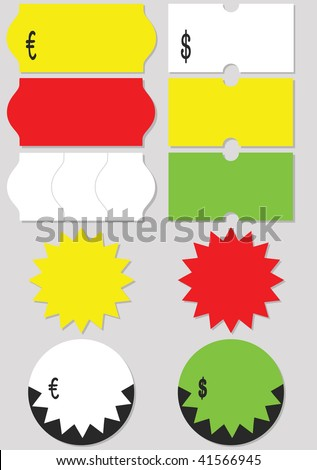 A set of different price tags (labels). All objects and details are isolated. Colors and gray background color are easy to adjust/customize.