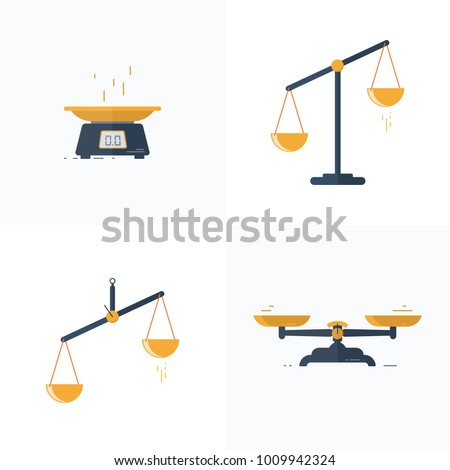 A set of different scales in a flat style. Vector illustration. Line design.