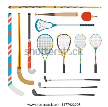 A set of different sports equipment, stick, racket, bat