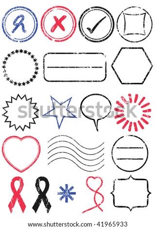 A set of different stamps. All vector objects are isolated and grouped. Stamps have transparent background. Colors and white background color are easy to remove, adjust or customize.