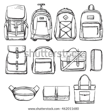 A set of different types of backpacks and handbag. Bag for travel