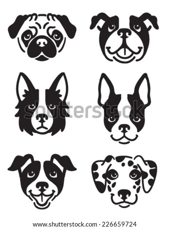 a set of 6 dog icons featuring