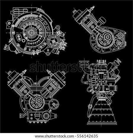 a set of drawings of engines