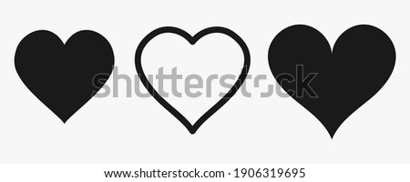 A set of drawn silhouettes in the form of a heart. Symbol of Love. Black Heart Shapes. Flat style. Social nets, web buttons, like. Web design. Vector illustrations.