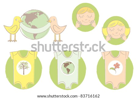 A set of earth friendly illustrations of baby clothes, faces, and birds with a banner around the earth.