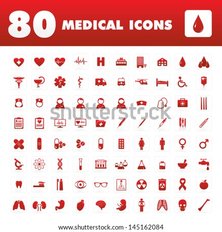 A set of eighty icons with medical themes.