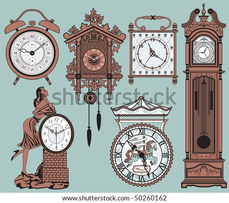 A set of elegant antique clocks
