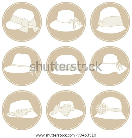 A set of 9 elegant female hats icons in white and beige.