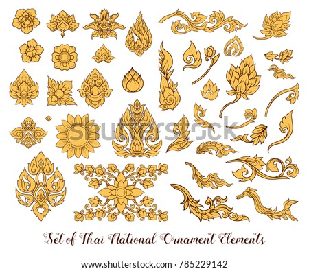 A set of elements of traditional Thai ornament. Stock vector illustration.