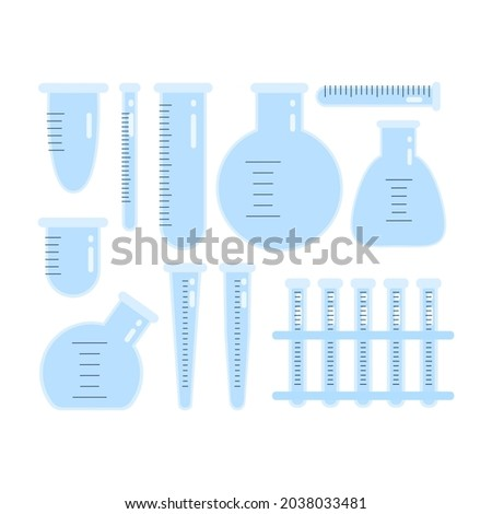 A set of empty and clean medical test tubes and flasks for chemical experiments with dimensional divisions in a flat style. Vector illustration isolated on a white background Photo stock ©