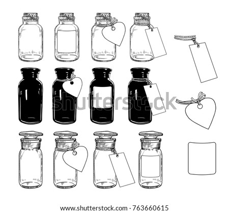 A set of empty glass jars and bottles with labels of various shapes. Hand-drawn vector illustration.