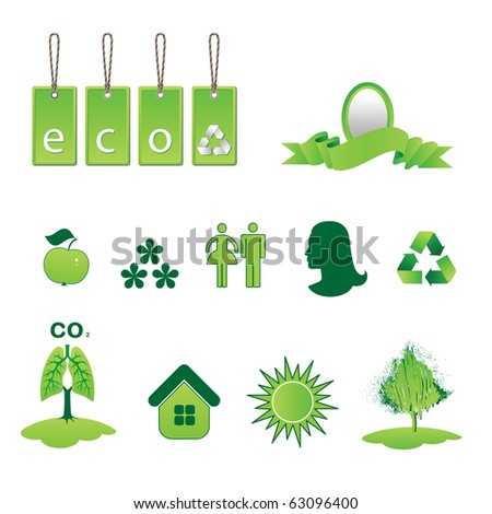 A set of environmental icons