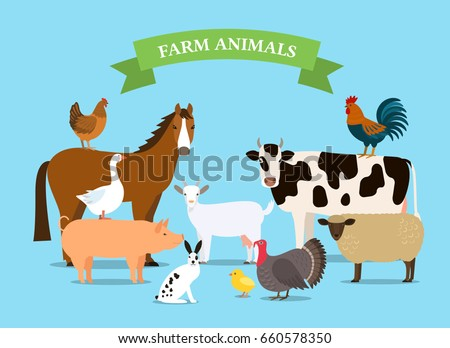 A set of farm animals in a cartoon style. Flat vector illustration