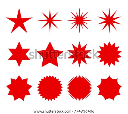 a set of fashionable forms of retro stars. design elements Sunburst. . Red beams firework. Best for sale sticker, price tag, quality mark. flat vector illustration Isolated on white background.