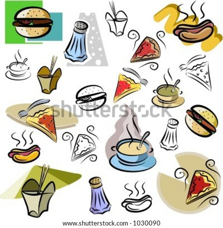 A set of fastfood vector icons in color, and black and white renderings.