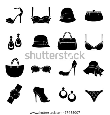 A set of 16 female fashion icons isolated on white. Raster version also available.