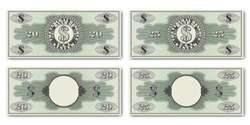 A set of fictional US paper money. Obverse and reverse of 20 and 25 dollar banknotes. Guilloche grids and shadows