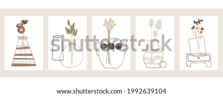 A set of five abstract minimalistic aesthetic floral illustrations. Colorful silhouettes of plants on a light background. Modern vector pastel posters for social networks, web design, interiors.