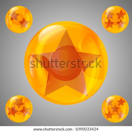 a set of five glossy balls with