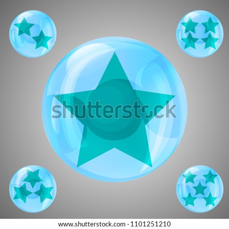 Stock Photo a set of five glossy balls with stars from one to five stars
