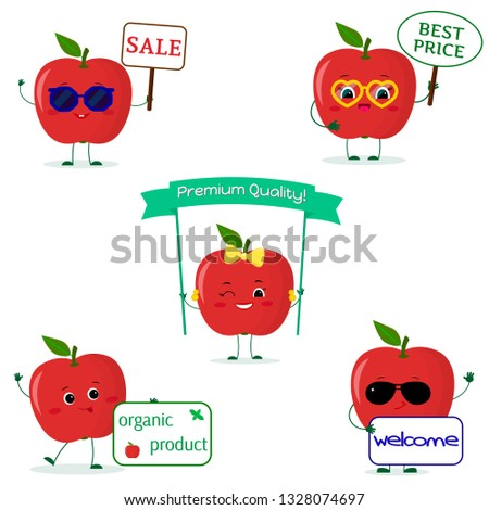a set of five red apple smiley