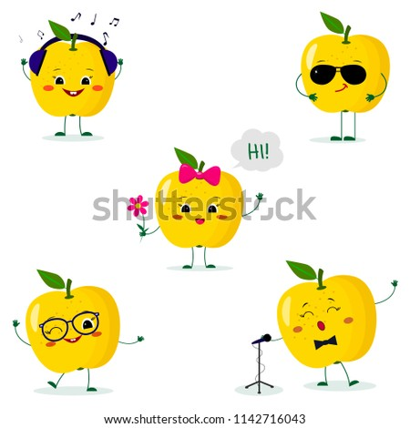 a set of five yellow apple