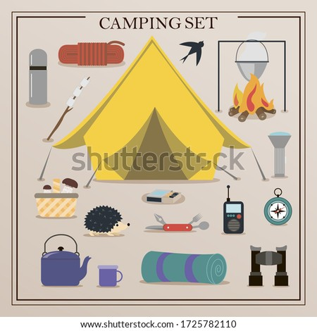 A set of flat icons for camping. Equipment for Hiking, mountaineering and camping-a set of icons and infographics. Tree house, tent, camping utensils, backpack and scout tools.