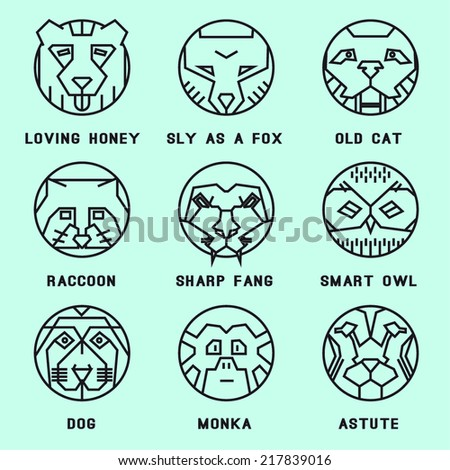 A set of flat icons with animals. Bear, grizzly, avatar, person, character, hero, person, profile,owl, tiger, wild, wild, raccoon, monkey dog, old cat.