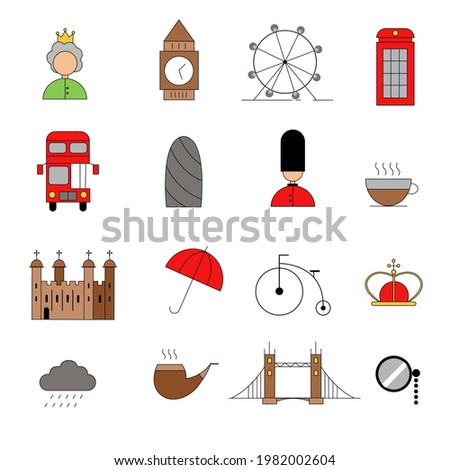 a set of 16 flat london related