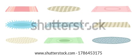 A set of floor mats of different shapes, colors. Floor covering, decorating the interior, a cozy home. Carpet, rug with fringed on the edge, home decoration. Vector illustration isolated on white
