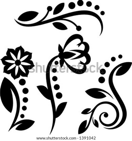 A set of 4 floral design elements.