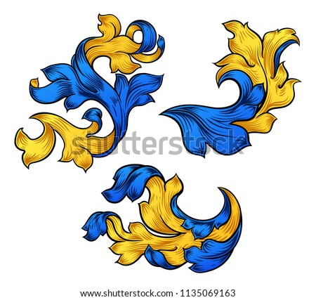 A set of floral filigree pattern scroll baroque designs