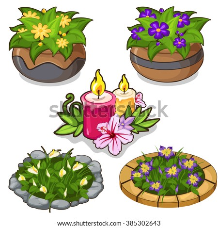 a set of flower beds and potted