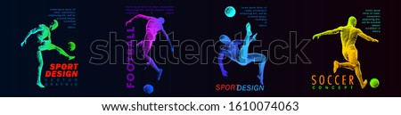 A set of fotball, soccer players drawing by color dynamic lines. Creative sport concept. Vector graphic eps for brochures, flyers, presentations, logo, print, web