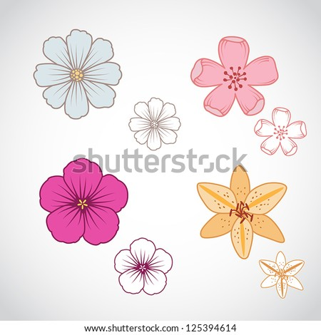 A set of four beautiful flowers in line art.