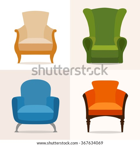 a set of four chairs in the...