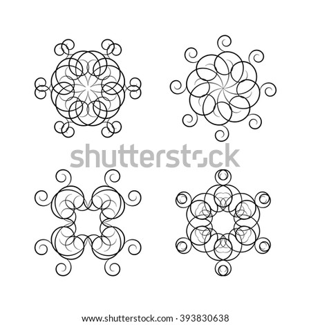 A set of four circular ornaments isolated on white background, vector illustration. #393830638