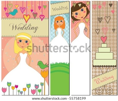 stock vector A set of four different wedding banners with brides and a