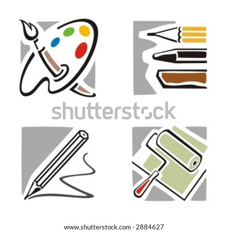 A set of four fine arts icons. Check my portfolio for much more of this series as well as thousands of similar and other great vector items.