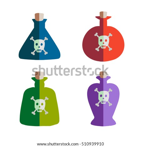 a set of four flasks of poison